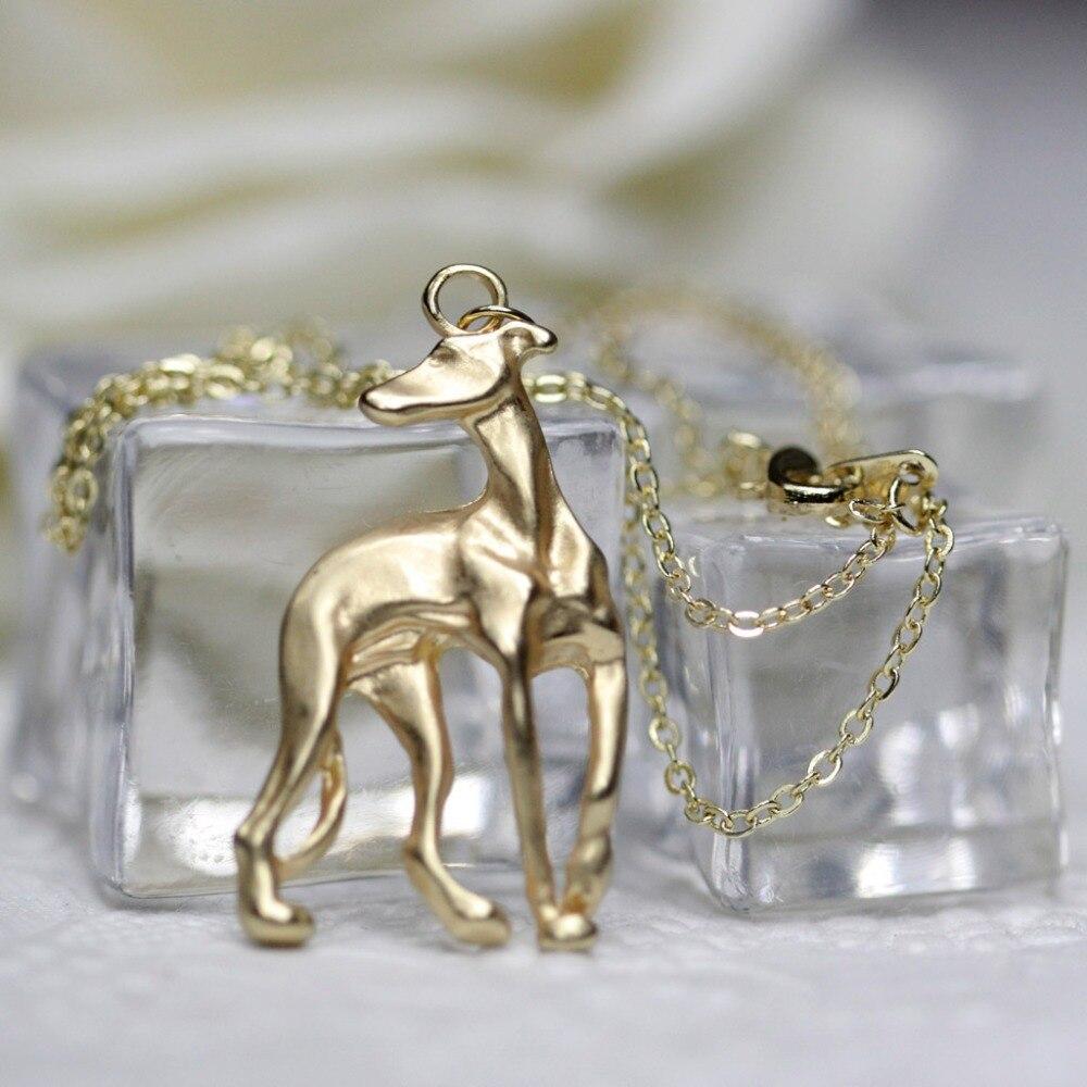 Greyhound ogrlica Galgo sprejeti reševalni whippet pes oblika zlato - Modni nakit - Fotografija 3