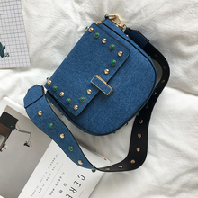Frauen Denim Blau Haspe Ethnische Metall Kette Strappy Nieten Mini Geldbörse Handtaschen Umhängetaschen Lässig Einkaufstasche