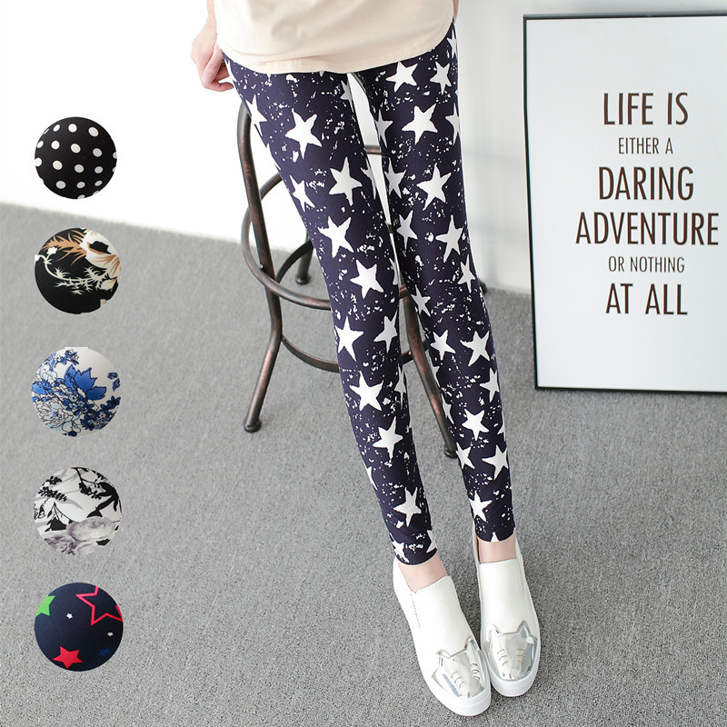 2018 Autumn Sweet Women Thin Clothing Leggings Print Mid Ankle-Length Polyester White Black Legging Pants Plus Size Streetwear