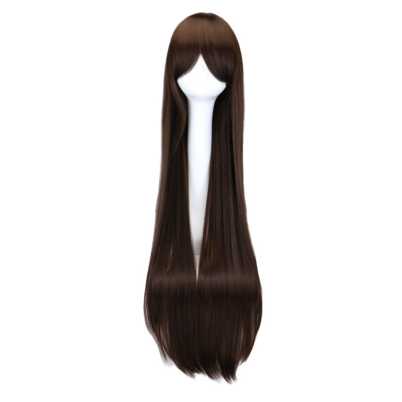 QQXCAIW Long Straight Costume Cosplay  Party Dark Brown 40