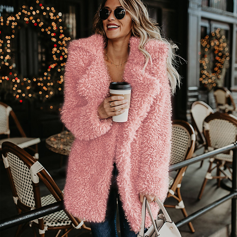 Fluffy long faux fur coat women Thicken Winter fake fur streetwear pink black coat female Fashion Streetwear Cardigan outerwear