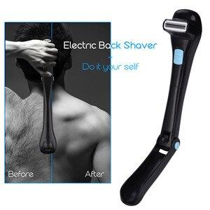 Image 1 - Men Electric Back Massage Hair Shaver Razor Epilator Foldable Handle Back Hair Removal Safe Shaving Machine Battery Operated 20