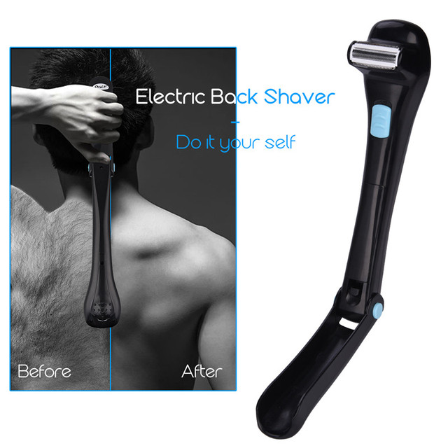 Men Electric Back Massage Hair Shaver Razor Epilator Foldable Handle Back Hair Removal Safe Shaving Machine Battery Operated 20