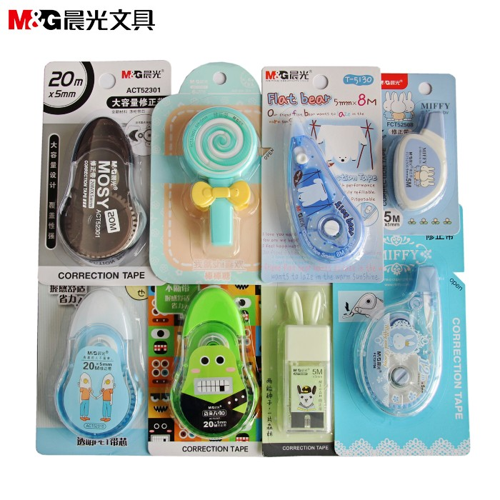 MG Stationery Creative Small Fresh Cartoon Correction Tape Multi Choices Large Capacity Correction With Pacakge
