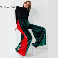 High Rise Casual Velvet Palazo Jogger Pants Women Wide Leg Capris Side Stripes Street Style Velour Green Red Leisure Trousers