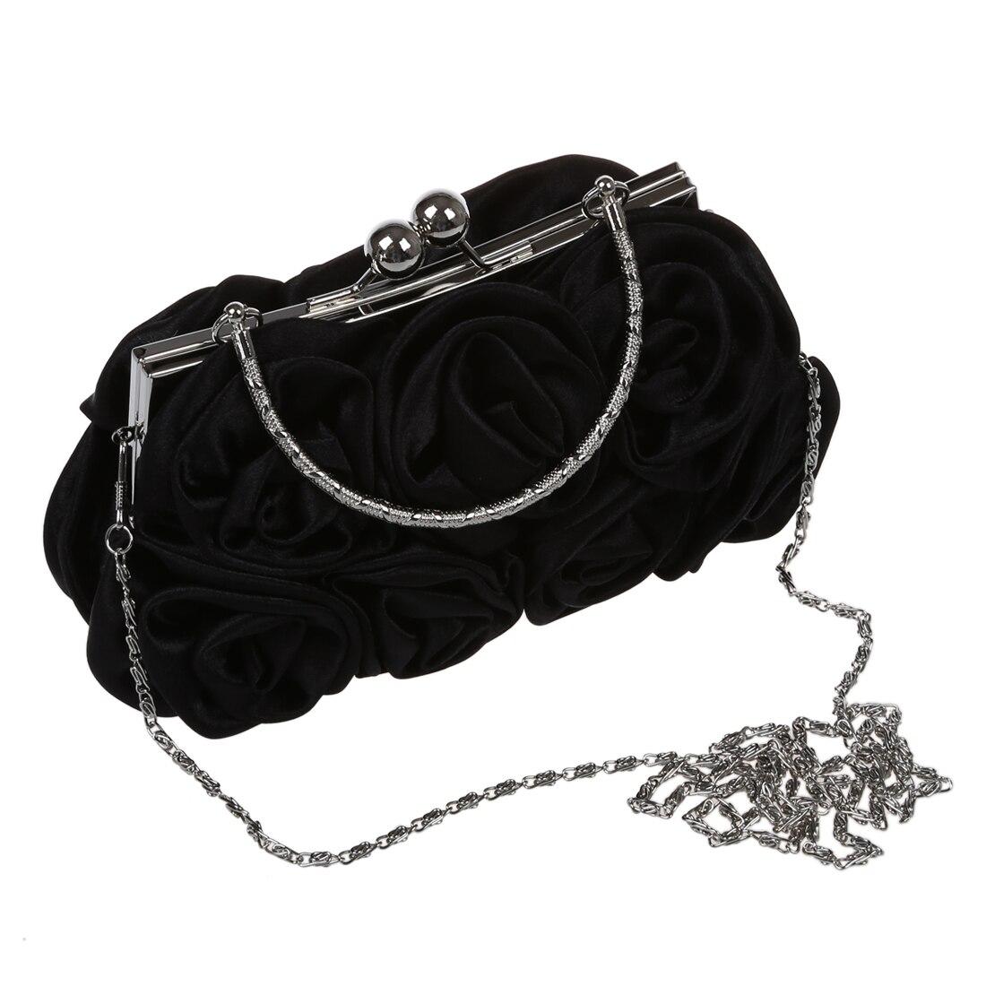 5pcs of  Rosette Clutch Bag Evening Black Flower Purse Handbag Banquet Bag 5 pcs of p