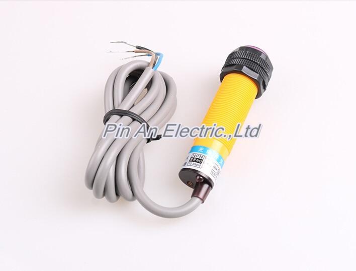 E3F-DS10P2 Diffuse Type Photoelectric Switch Sensor M18 3 Wire DC 6V-36V PNP NC Detection Range 10cm omron photoelectric switch sensor built in micro diffuse 2m e3t sl11