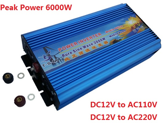 цена на Dual digital display Pure Sine Wave Power Inverter 3000W 12V/24V/48V DC to 110V/120V/220V AC Voltage Converter for Solar Panel
