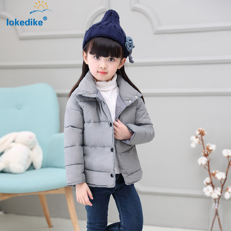 ФОТО 3 Colors Children Coat Winter 2017 New Girls Clothes Fashion Thick Solid Jacket Kids Warm Coats Child Padded Clothing T2838