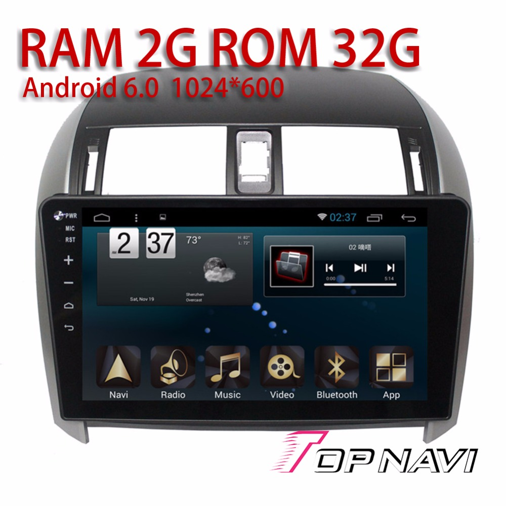 Automotive 2G Players for Toyota Corolla 2007 2013 10 1 Android 6 0 Topnavi Vehicle Car
