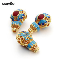 SAUVOO 3pcs Lot Alloy 22x14mm Cloisonne Beads Gold Plated Chinese Style Ethnic Spacer Beads For DIY
