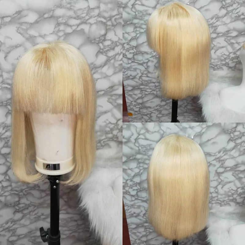 Peluca de pelo corto con encaje sin pegamento 613 pelucas de cabello humano rojo rubio con flequillo negro recto para mujer remy del pelo del bebé