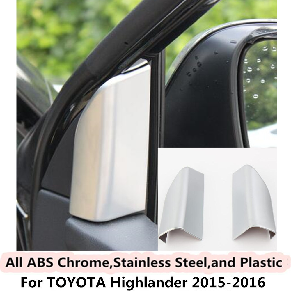 For Toyota Highlander 2015 2016 car body style cover ABS chrome inner front head A column lamp frame triangle moulding trim 2pcs