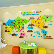 Creative DIY cartoon world map INS chidrens room bedroom living TV background wall decoration 3D acrylic sticker