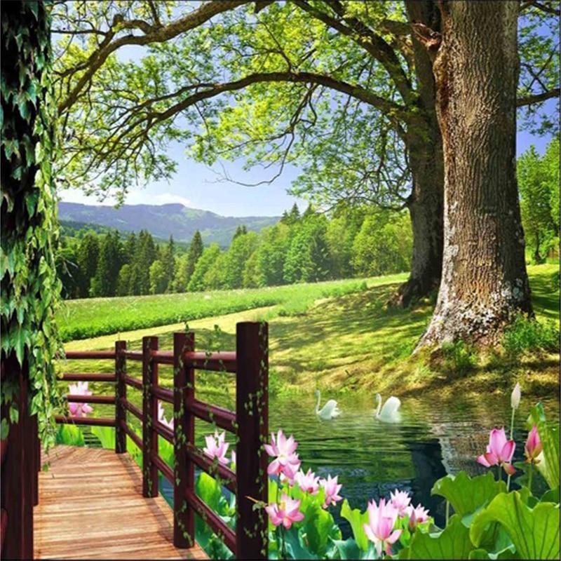 Lihat custom 3d photo wallpaper countryside scenery walls for Countryside wallpaper for walls