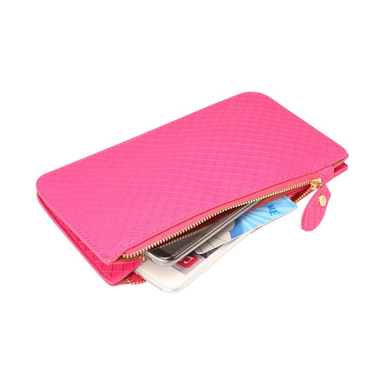 Checked Pattern Hangbag Wallet Case for DEXP Ixion E145 Evo SE/ES245 Evo/M245 Snap/M145 Link/ML 4.7/X 4.7/XL145 Snatch/ML 4.5