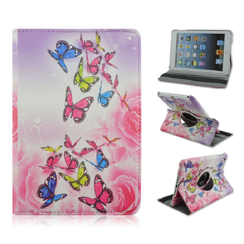 Foldable PU Leather Pad Cover with Pink Butterfly Style Support 360 Degrees Rotation for iPad Air 1 iPad 2017 2018 foldable pu leather pad cover with flower girl driving style inlaid diamond support stand for ipad mini 3
