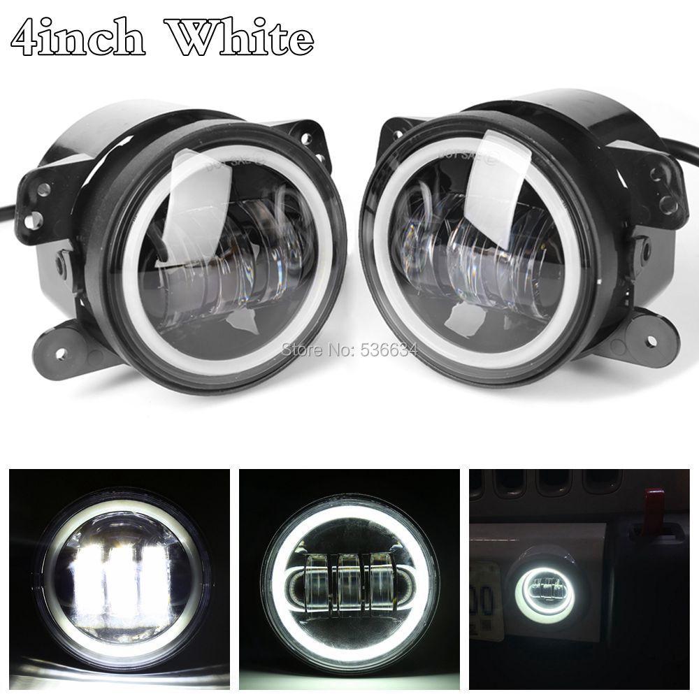 4 Inch 30W LED Fog Lights w/ White Halo Ring Angel Eyes for 1992-2001 AM General Hummer,for Jeep Wrangler JK 2-Door