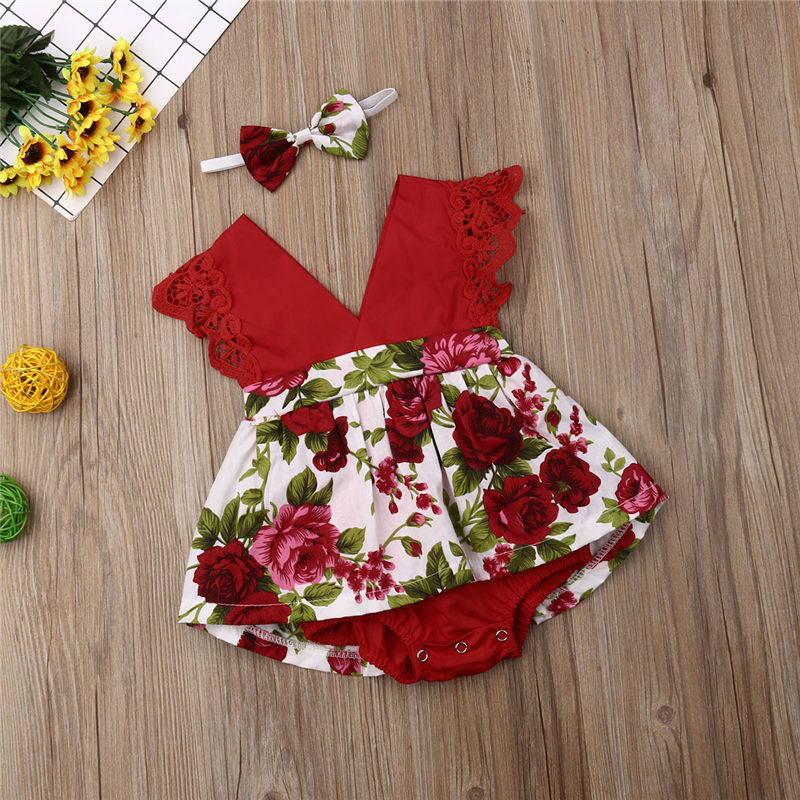 Emmababy Toddler Baby Girl Lace Red Floral Bodysuits Fashion V Neck 2pics Headband Outfits Girls Clothes Bodysuit