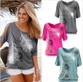 2016 fashion hot sale aliexpress explosion feather printing shoulder bat half sleeve T-shirt 1659 women t shirts