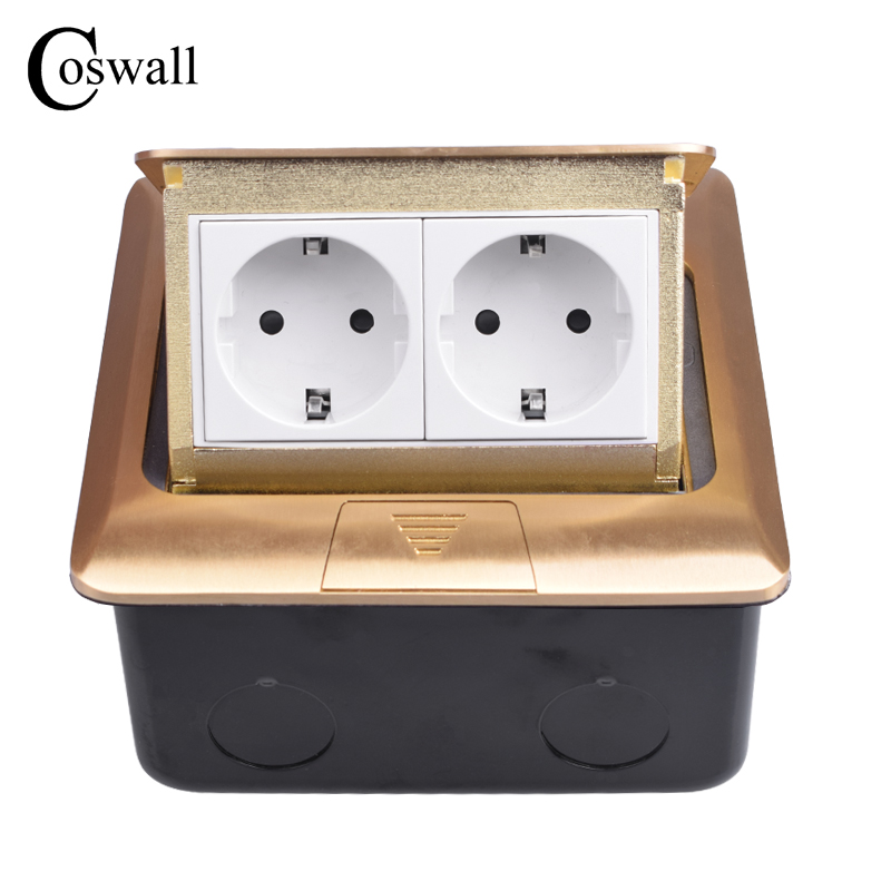 Coswall Pure Copper Thicken Panel 16A Russia Spain EU Standard Pop Up Floor Socket Double Power Electrical Outlet AC 110~250V-in Electrical Sockets from Home Improvement    1