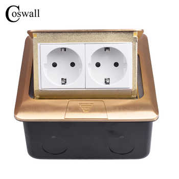 Coswall Pure Copper Thicken Panel 16A Russia Spain EU Standard Pop Up Floor Socket Double Power Electrical Outlet AC 110~250V - DISCOUNT ITEM  40% OFF All Category