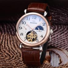 Brand AILANG Tourbillon Men Dress Watches Automatic Real Leather Business Wristwatch Moon Phrase 4-hand Reloj Analog 3ATM NW3290