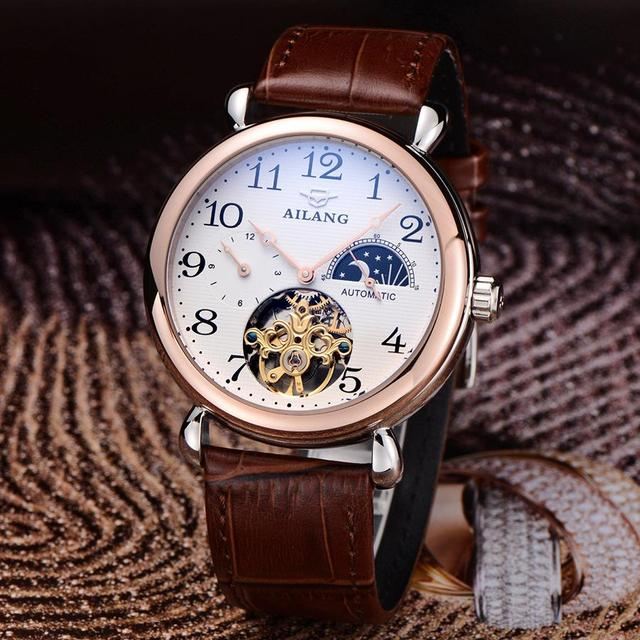 bb73ab5c1bc Brand AILANG Tourbillon Men Dress Watches Automatic Real Leather Business  Wristwatch Moon Phrase 4-hand Reloj Analog 3ATM NW3290
