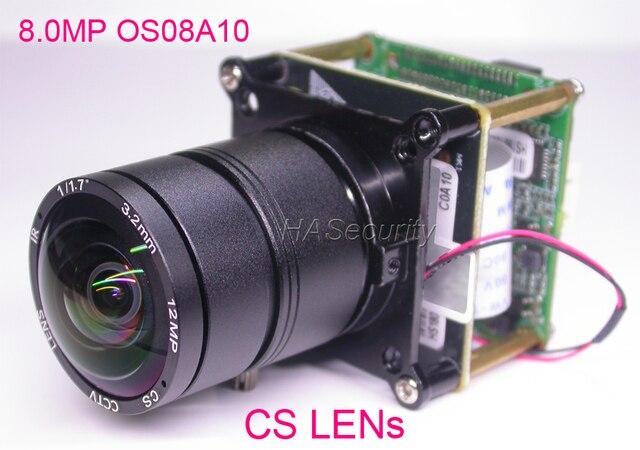 "8.0MP (4K/2K) H.265 IPC 1/1.8"" OmniVision OS08A10 CMOS sensor + Hi3516A V200 IP CCTV camera PCB board module +LAN cable +CS LENs"