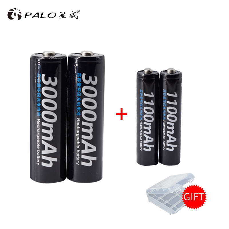 PALO 2Pcs 1.2V 3000mAh AA Batteries+2Pcs 1.2V 1100mAh AAA Batteries NI-MH AA/AAA Rechargeable Battery