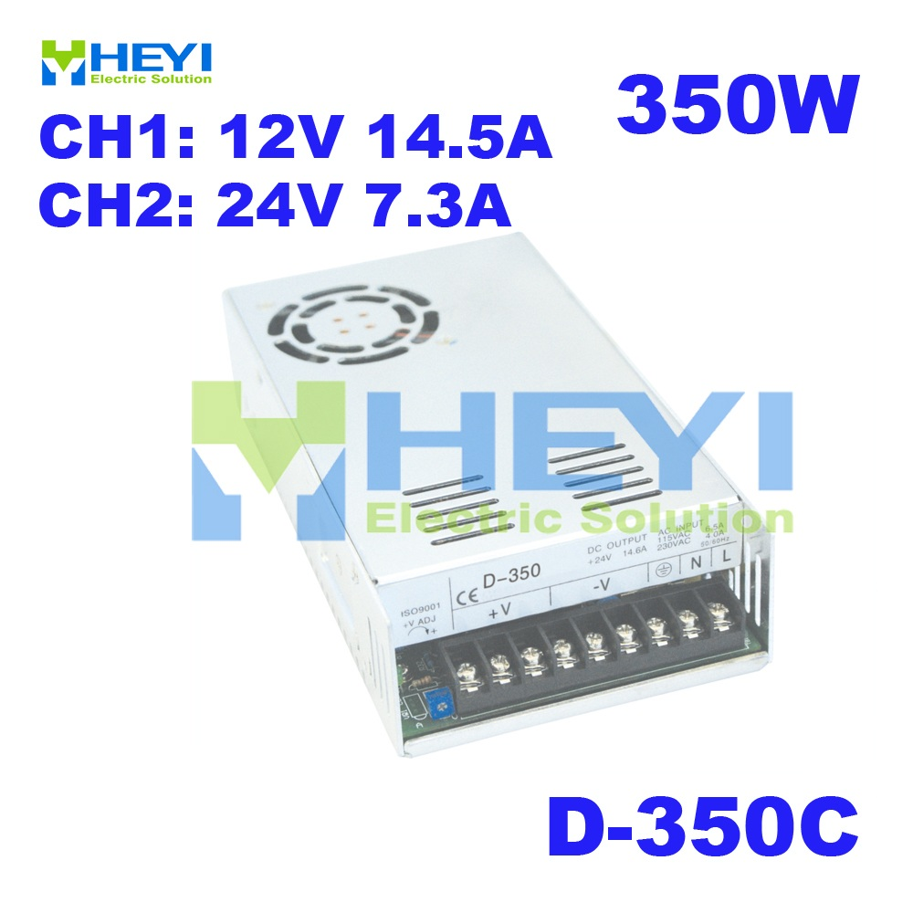 350W dual switching power supply CH1 12V 14 5A CH2 24V 7 3A D 350C AC
