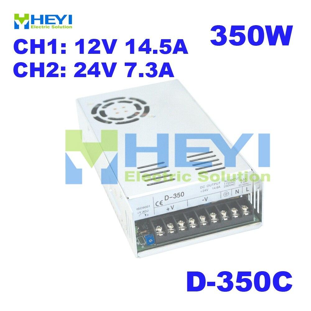 350 W double alimentation à découpage CH1: 12 V 14.5A CH2: 24 V 7.3A D-350C AC à DC convertisseur de tension alimentation
