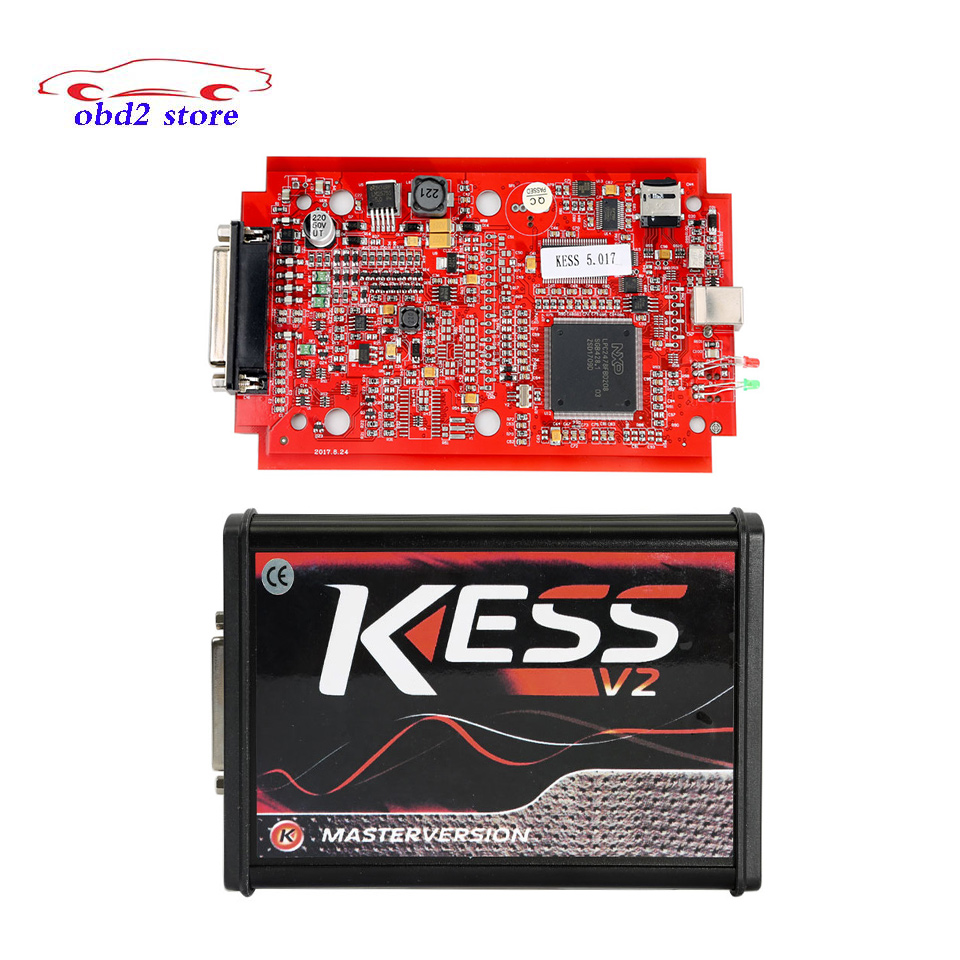 Newest Kess V2 V5.017 EU Version ECU Programmer No Token Limited with Red PCB Online Version Kess V2 5.017 OBD2 Chip Tuning Tool 2017 online ktag v7 020 kess v2 v5 017 v2 23 no token limit k tag 7 020 7020 chip tuning kess 5 017 k tag ecu programming tool