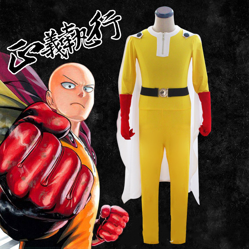 Cosplaylegend Anime un coup de poing homme Saitama cosplay costume Caped Baldy chauve Cape adulte tenue