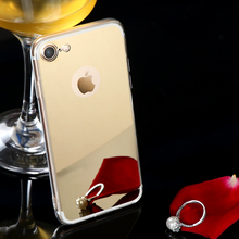 Rose Gold Luxury Bling Mirror Case For Iphone 6 6S 7 X 8 5 5s SE Plus Clear TPU Edge Ultra Slim Flexible Soft Cover