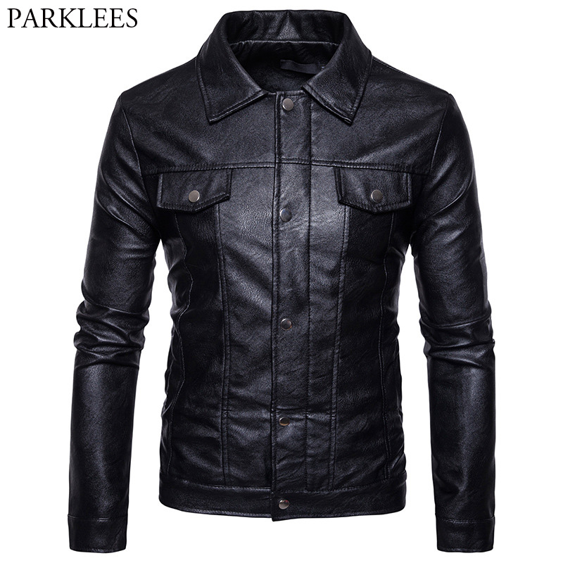 Men PU Leather Jacket 2017 Casual Turn Down Collar Double Pocket Motorcycle Leather Jackets Coats Veste Cuir Homme Zipper Jacket