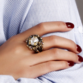 New Natural fresh water pearl Ring Trendy Anniversary gift Black Gold plate With High quality Purple crystal CZ Ring with pearl