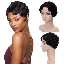 JINKAILI Short Pixie Wavy Blonde Wig Figer Wave Curly Synthetic Wigs for Black Women African American Fake Hair Heat Resistant(China)