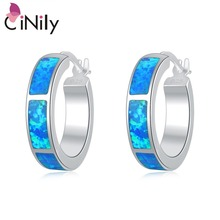 CiNily Created Blue Fire Opal Silver Plated Wholesale Hot Sell Fashion Jewelry for Women Earrings 1