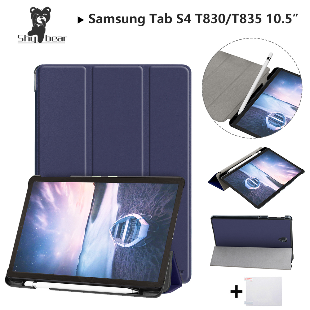 Shy Besr Case For Samsung Galaxy Tab S4 2018 10.5''T830 T835 SM-T835 10.5'' with Pen-slot Protective Stand Cover Case+gift protective flip open pu pc case cover w stand card slot for samsung galaxy note 4 white