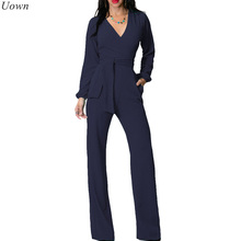 Fashion Wide Leg Elegant Jumpsuits Black V-neck Long Sleeve Office Overalls Casual Loose Playsuits for Women Combinaison Femme