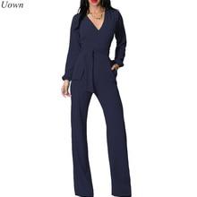 Модные широкие брюки Элегантные Комбинезоны Черный v-образным вырезом с длинным рукавом Офис Комбинезоны повседневные Свободные Комбинезоны для женщин Combinaison Femme