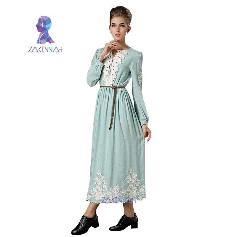 bddafd0b6289 MD1701 autunno Semplice stile vintage abito lungo in pizzo bordo classico  grazia vestito delle donne musulmane abaya caftano dubai temperamento in  MD1701 ...