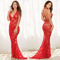 JiaHuiGe New Porn Women Lingerie Sexy Hot Erotic Transparent Red Dress Sexy Halter Underwear Erotic Lingerie