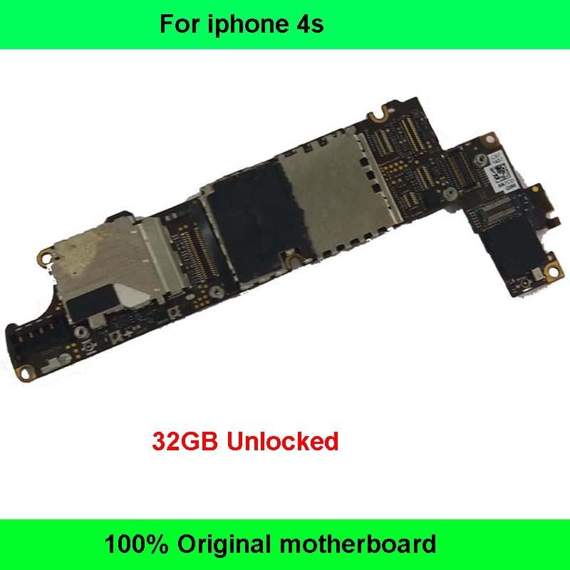 imágenes para Placa lógica mainboard original desbloqueado de fábrica 32 gb placa base instalada de mainboard para el iphone 4s teléfono inteligente ios sistema