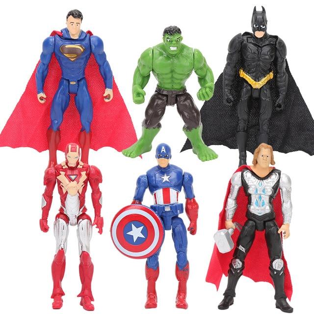 6 pçs/set 8-10 centímetros Super Herói The Avengers figura de ação Brinquedos Do Homem Aranha Capitão América thor Hulk brinquedo