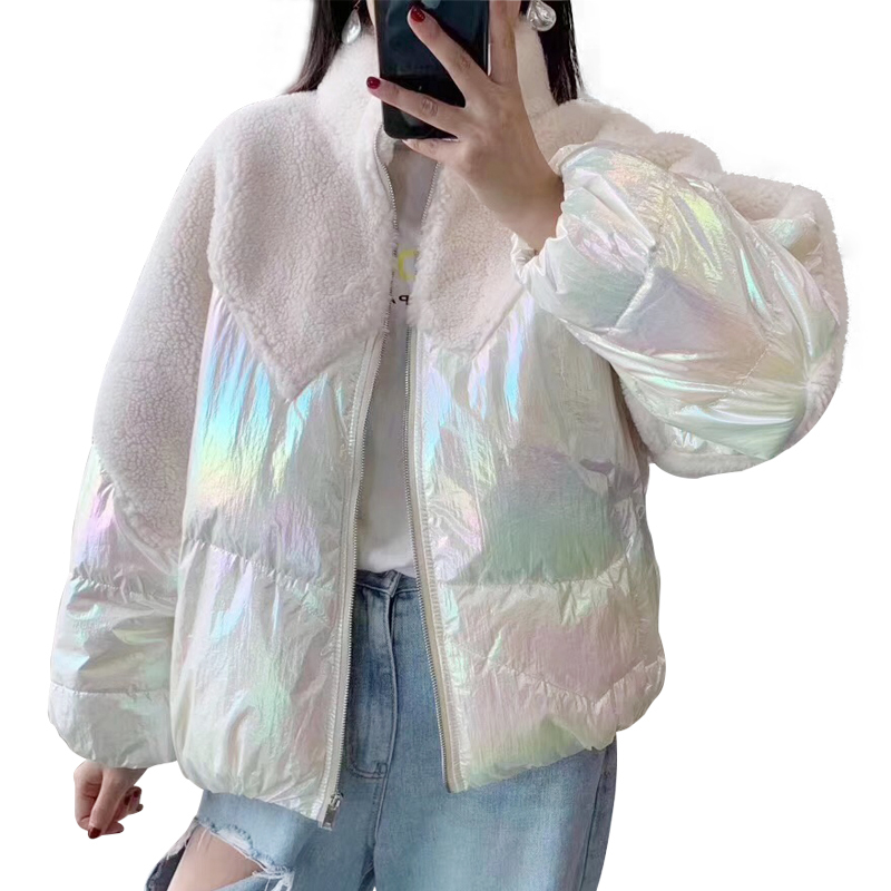 Duck Down Coat 2019 Real Fur Coat Winter Jacket Women Natural Sheep Fur Streetwear Warm Short Style Down Feather Coats
