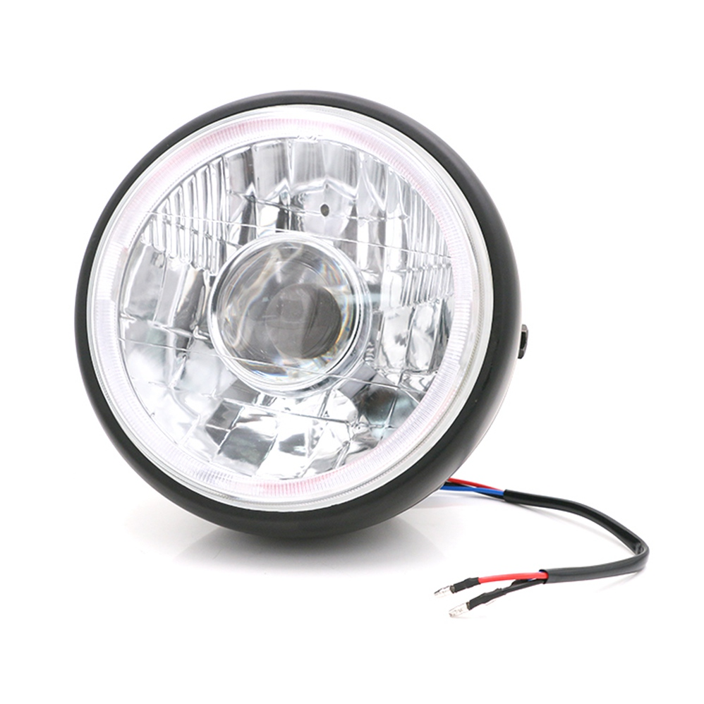 купить 7'' Angel Eye DRL Motorcycle Headlight For Harley Davidson Sportsters XG XR VRSCD Dyna Projector LED Chrome Round Headlamp недорого