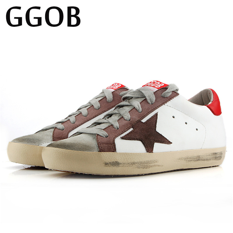 GGOB Brand 2018 Cowhide Flat Shoes Fashion women Casual walking shoes Breathable Skateboard Handmade Genuine Leather unisex Shoe e lov women casual walking shoes graffiti aries horoscope canvas shoe low top flat oxford shoes for couples lovers