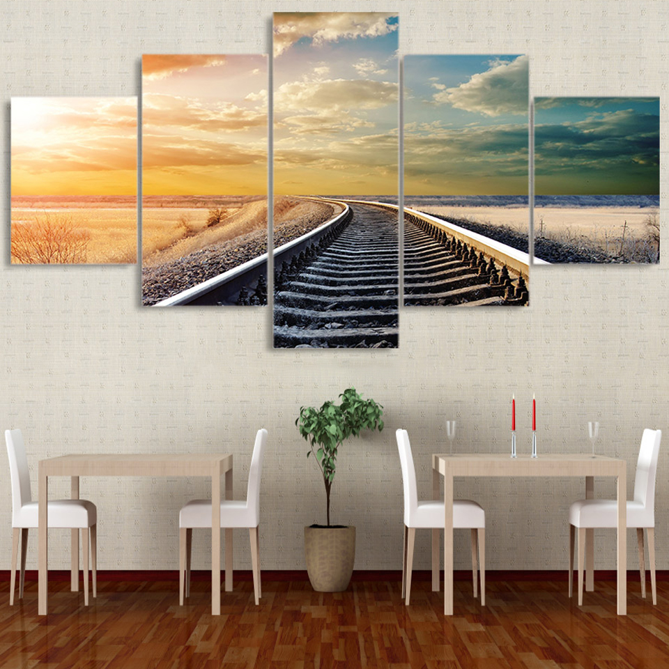 Decor Tableau Wall HD Printed Art Pictures Canvas 5 Panel Railway Across The Vast Plains Modern Paintings Modular Posters Home